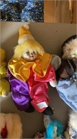 Porcelain Faced Clown Dolls and Dog.