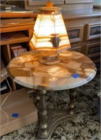 Marble table with matching lamp