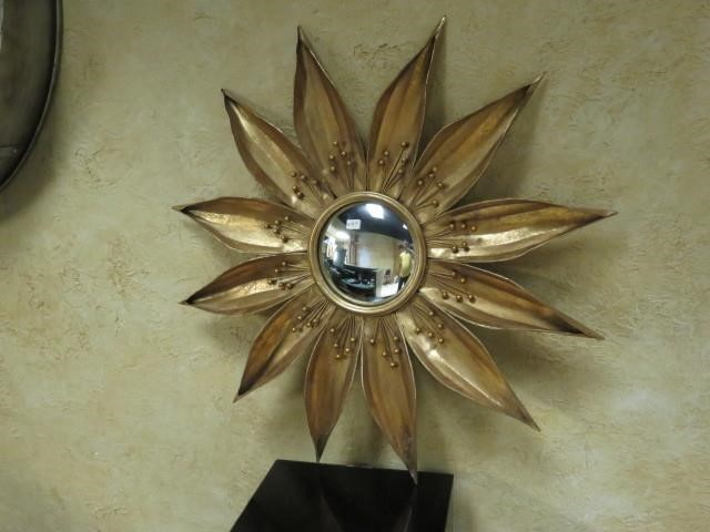 Gold Metal Flower Mirror Wall Art 26 X 26 Gardner Auctions Incorporated