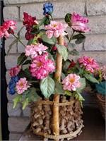 Pink Artificial Flowers In Basket