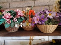 3pc Artificial Flowers In Baskets