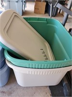 Green, White Plastic Storage Tubd