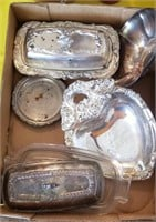 Silver Tone Butter Dishes, Nut Bowls, Etc