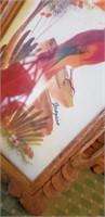 Wood Framed Bird Art- Signed