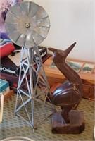 Windmill, Wood Bird Decor