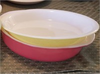 Red And Yellow Pyrex Dishes