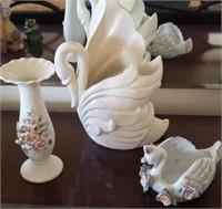 White Decor, Vae, Swan Vase, Trinket Dish