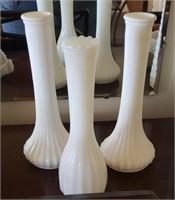 3 Pc White Hoosier Glass Vases