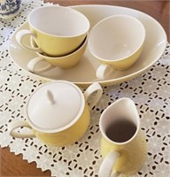 Kokura Iron Stone Yellow Tea Cups, Cream & Sugar