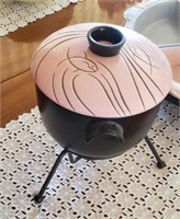 Pink & Black Covered Dish On Stand