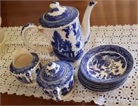 Blue & White Made In Japan Tea Pot, Cream & Sugar