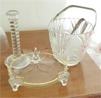 Glass Ice Bucket & Tongs, Candle Stick, Bird Plate
