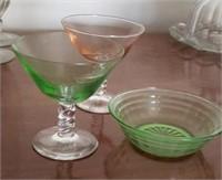 Depression Glass Cups, Bowl