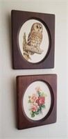 Wood Framed Wall Art, Owl, Flowers