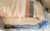 Tan Striped Blanket, Blue Blanket