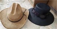 Straw Cow Boy Hat, Black Ladies Hat