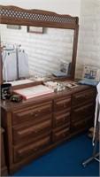 Wood Dresser W/ Attached Mirror