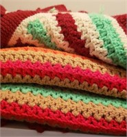 Crocheted Red & Green Blankets
