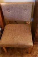Grey Brown Fabric Armless Chair