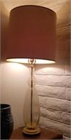 Clear Base Lamp W/ Beige Lamp Shade