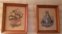 2 Pc Framed & Signed Cat Art # 1