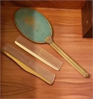 Light Blue Vanity Hand Mirror & Combs