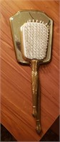 Brass Tone Vanity Hand Mirror & Brush