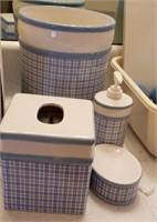 Blue Plaid Bathroom Accessories