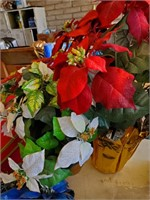 Red/ White Artificial Poinsettas