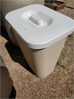 Beige, White Plastic Trash Can