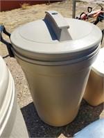 Tan Plastic Trash Can