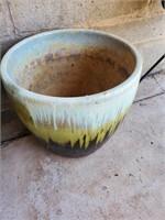 Green/ White Ceramic Planter #2