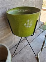 Green Plastic Planter On Stand