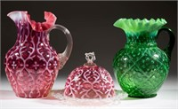 Opalescent glass including a collection of Opaline Brocade/Spanish Lace