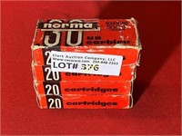 20rds Norma 30 US Carbine 110gr Soft Point
