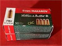 50rds Lellier & Bellot 9mm makarov fmj