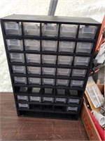 Nuts and bolt cabinet 9. has missing drawers