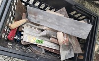 Hand basket of scrapers, Trowels, ect