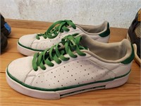Green and White Addidas 8.5