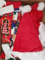 Christmas Box Lot #4  Several Stockings and Hats