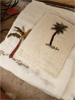 Palm Tree Shower Curtain and Wash Cloth