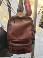Brown, One strap backpack/purse
