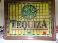 Large Framed Stained Glass Tequla Sign