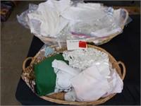 2 Baskets Assorted Linens