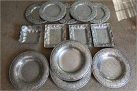 Large Cast Aluminum Plate & Tray Lot