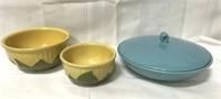 Shawnee corn decorative bowls and teal blue