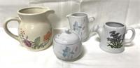 Vintage water pitcher, creamer and sugar bowls