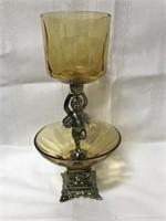 Vintage glass candle holder, swan hand towel