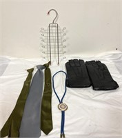 Tie rack, clip on ties, bolo tie, leather gloves