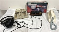 Vintage Household items, includes att cord phone,